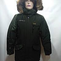 Куртка мужская зимняя в стиле Columbia оливка с натуральным мехом (размеры уточняйте), фото 1