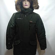 48 р Куртка чоловіча зимова остання оливка з натуральним хутром