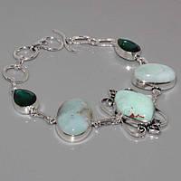 Нежный браслет с камнем хризопраз и кварц в серебре. Браслет с натуральным хризопразом.