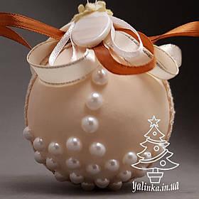 Новогодний шар из пенопласта диаметром 80 мм Бежевый