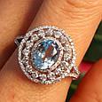 Серебряное кольцо с топазом - Женское родированное кольцо с голубым топазом, фото 9