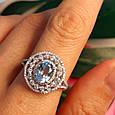 Серебряное кольцо с топазом - Женское родированное кольцо с голубым топазом, фото 8