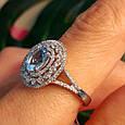 Серебряное кольцо с топазом - Женское родированное кольцо с голубым топазом, фото 7