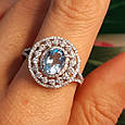 Серебряное кольцо с топазом - Женское родированное кольцо с голубым топазом, фото 6