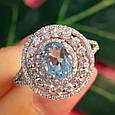 Серебряное кольцо с топазом - Женское родированное кольцо с голубым топазом, фото 5
