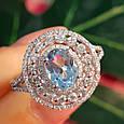Серебряное кольцо с топазом - Женское родированное кольцо с голубым топазом, фото 4