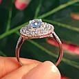 Серебряное кольцо с топазом - Женское родированное кольцо с голубым топазом, фото 3