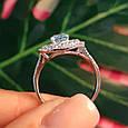 Серебряное кольцо с топазом - Женское родированное кольцо с голубым топазом, фото 2