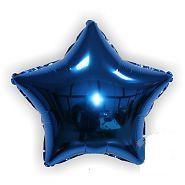 Куля фольгований зірка темно синя 45 см, Godan (Польща) в індивідуальній упаковці