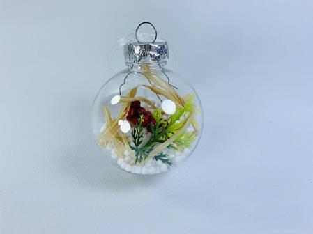 """Новогодняя игрушка шарик """"Прозрачный с наполнителем"""", 6 шт в упаковке, фото 2"""