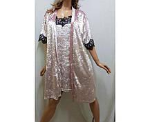 Очаровательный бархатный комплект, халат и ночнушка с французским кружевом, от 42 до 58 р-ра, фото 2