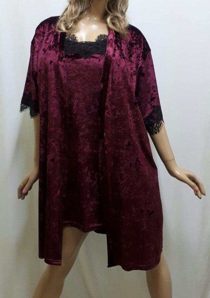Очаровательный бархатный комплект, халат и ночнушка с французским кружевом, от 42 до 58 р-ра