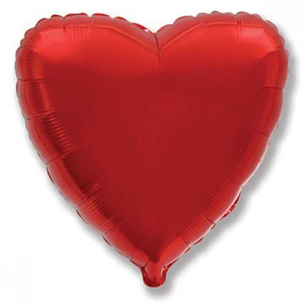 Куля фольгований серце червоне 46 см, Godan (Польща) в індивідуальній упаковці