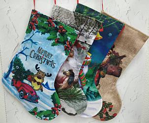 Носок для подарков новогодний с принтом 32*24 см