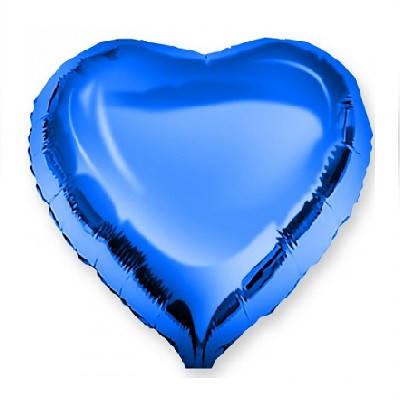 Куля фольгований серце синє 46 см, Godan (Польща) в індивідуальній упаковці