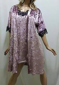 Очаровательный бархатный комплект, халат и ночнушка с французским кружевом, от 42 до 58 р-ра фламинго