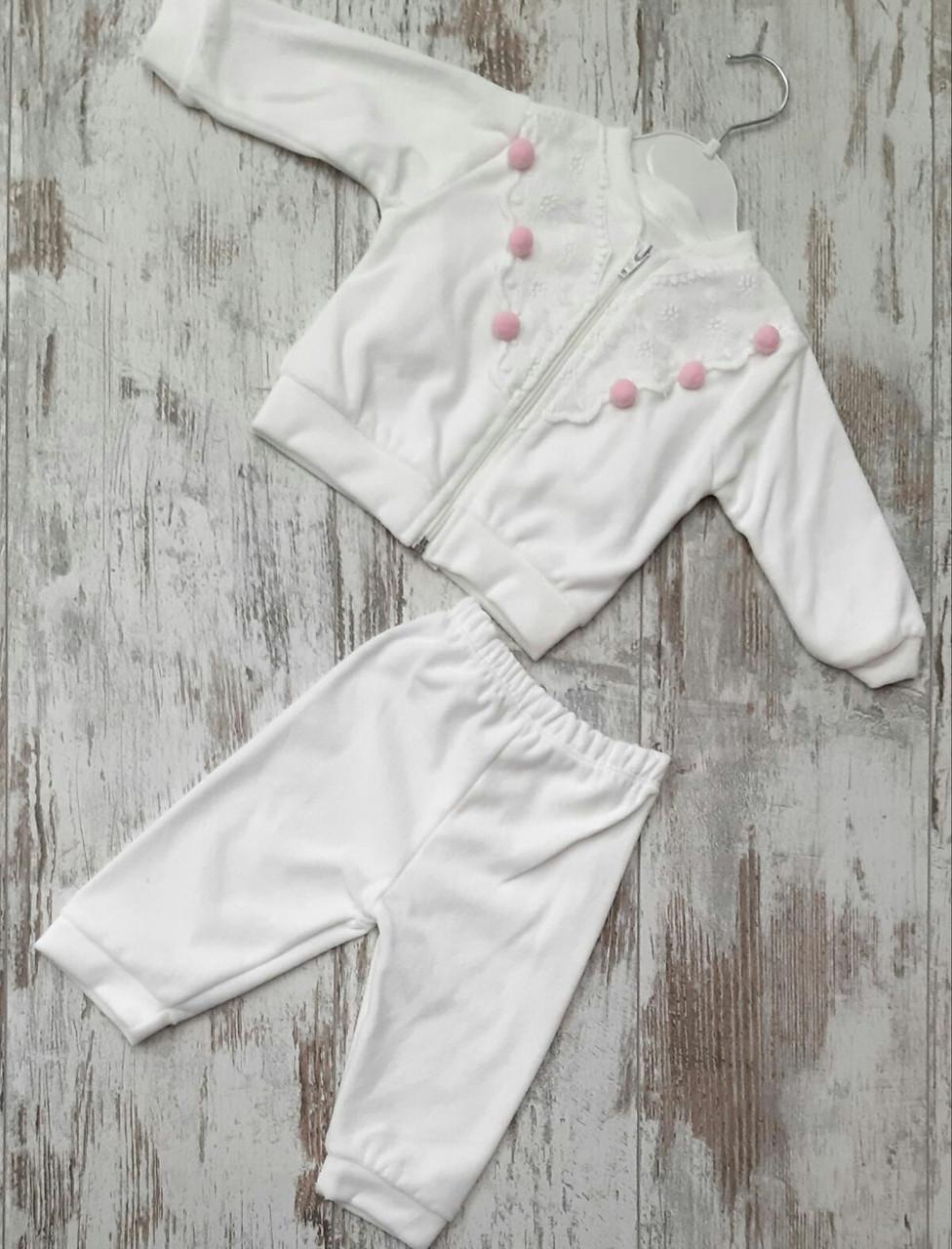 Детский велюровый костюм для девочек 6-9 мес Турция оптом