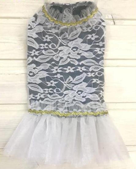 Платье для собак гипюр белое