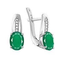 Серебряные серьги с зеленым агатом и фианитами 000133701 000133701