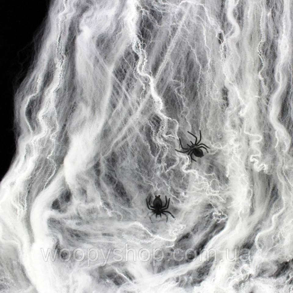 Паутина белая. Декор +2 паука в подарок