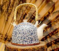 Чайник заварочный фаянсовый белый с растительным орнаментом 900 мл №15