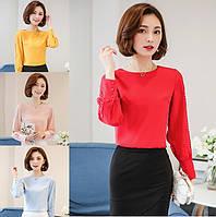 Женская блуза с декор-вязкой на рукавах, фото 1