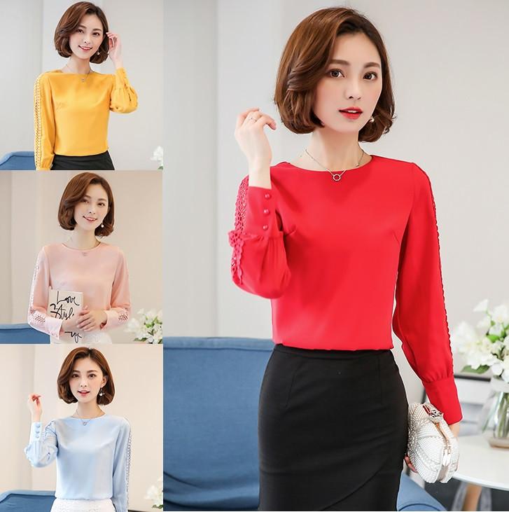 Женская блуза с декор-вязкой на рукавах