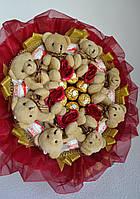 Букет з іграшками ведмедиками і цукерки Рафаелло, фото 1