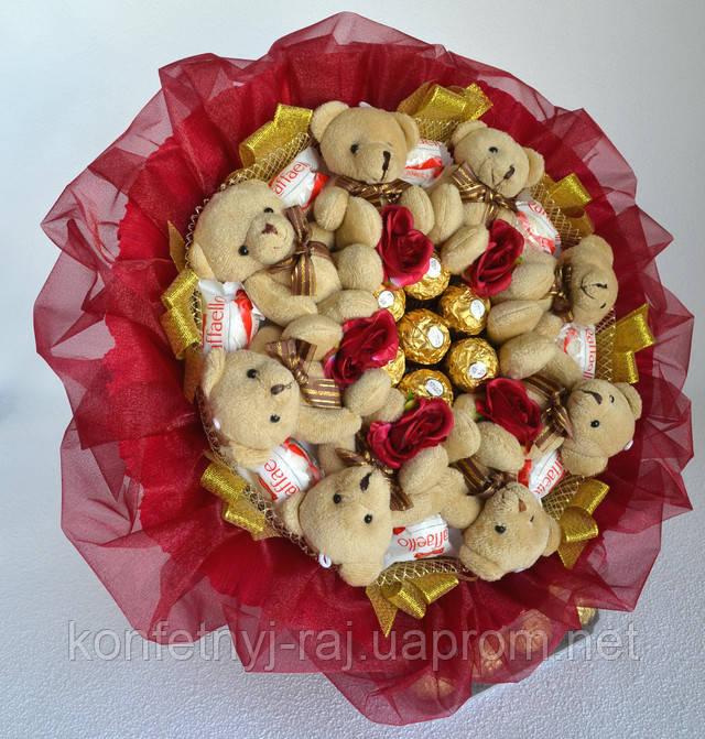 Букет з іграшками ведмедиками