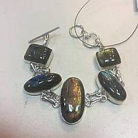 Красивый браслет с лабрадором. Браслет с натуральным камнем лабрадор в серебре Индия