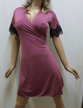 Шикарный, элегантный женский халат из микро масла с кружевом, фото 2