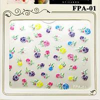 Наклейки для Ногтей Самоклеющиеся 3D Nail Sticrer FPA-01 Разноцветные Цветы Все для Маникюра и Педикюра