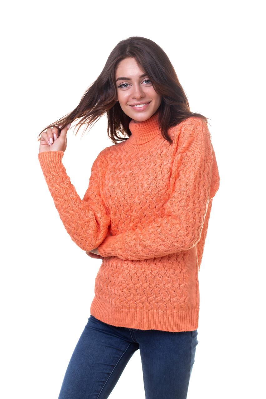 Женский шерстяной свитер под горло Оранжевый 44,46,48 размер