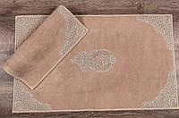 Набор ковриков для ванной комнаты с кружевами Maco lotus bej. Турция