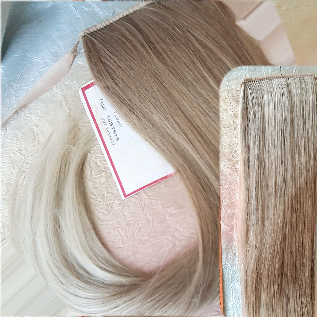 Хвост прямой на ленте платиновый блонд CIVK-15ВТ613