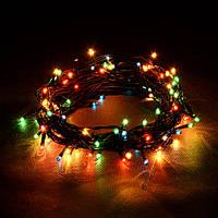 🔥 Гирлянда Нить электрическая 100 лампочек Разноцветный, 350 см, черный провод (1-2, 1010-01)