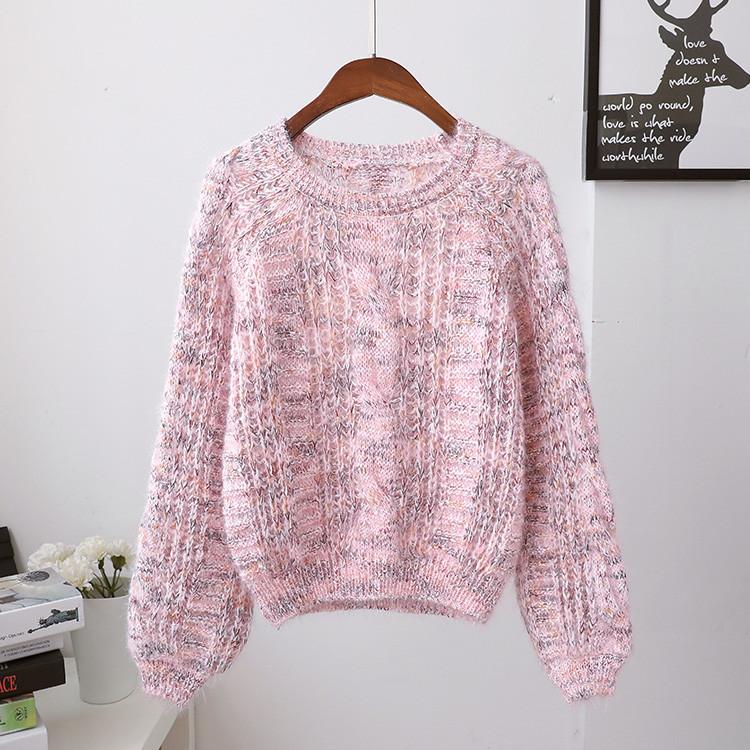 Короткий женский свитер меланж 42-44