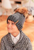 """Зимняя серая шапка меринос флис для мальчика парня с крупным натуральным помпоном """"Алекс"""" 52-54-56"""
