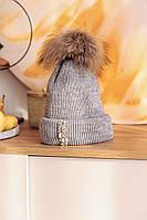 """Зимняя шапка серый меланж с камнями стразами и натуральным помпоном """"Кайла"""""""