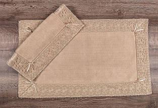 Набор ковриков для ванной комнаты с кружевами Maco vals bej. Турция