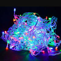 🔥 Гирлянда Нить LED 100 лампочек Разноцветный, 650 см, прозрачный провод (1-8, 1110-01)