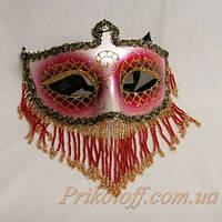 Венецианская маска с бисером, красная