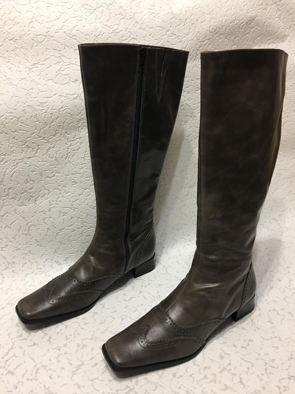 Высокие кожаные сапоги 41 р
