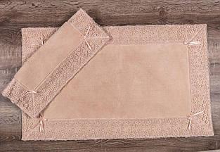 Набор ковриков для ванной комнаты с кружевами Maco vals pudra. Турция