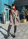 Короткое женское Пальто в клетку на утеплителе с поясом и отложный воротником 58pt253, фото 3
