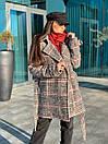 Короткое женское Пальто в клетку на утеплителе с поясом и отложный воротником 58pt253, фото 4
