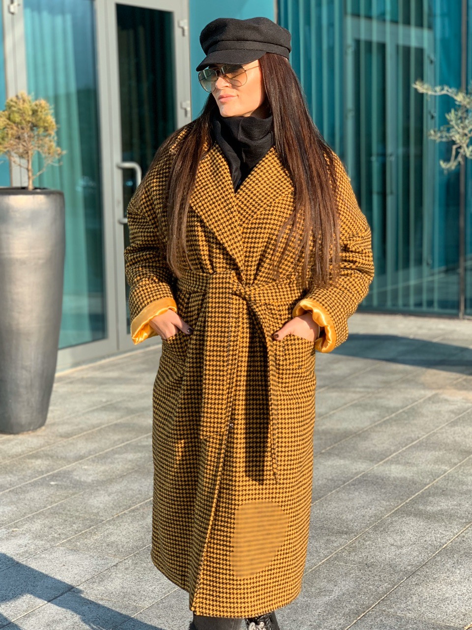 Длинное Пальто в клетку на утеплителе с поясом 58pt254