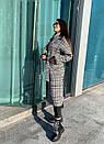 Длинное Пальто в клетку на утеплителе с поясом 58pt254, фото 3