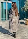 Длинное Пальто в клетку на утеплителе с поясом 58pt254, фото 4