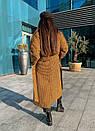 Длинное Пальто в клетку на утеплителе с поясом 58pt254, фото 5
